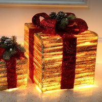 3pcs/set Watch Christmas LED Wrought Iron Decoration Gift Box Light Up LED Christmas Parcels Gift Box for New Year
