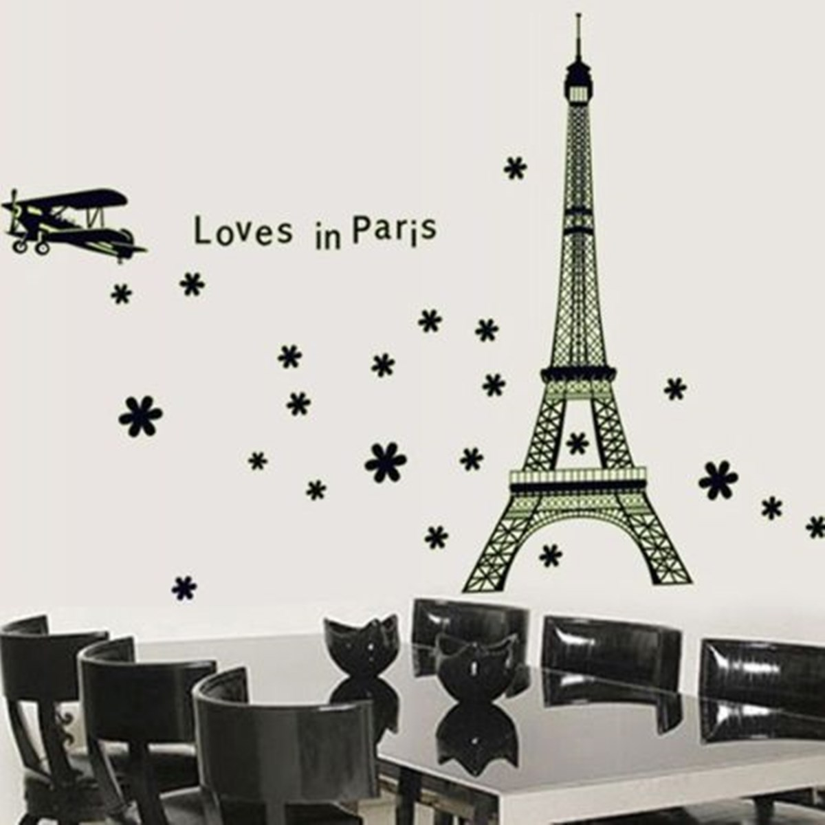 New romantic art paris eiffel tower night fluorescent wall sticker new romantic art paris eiffel tower night fluorescent wall sticker mural vinyl decal home room decor france diy wall wallpaper in wall stickers from home amipublicfo Images