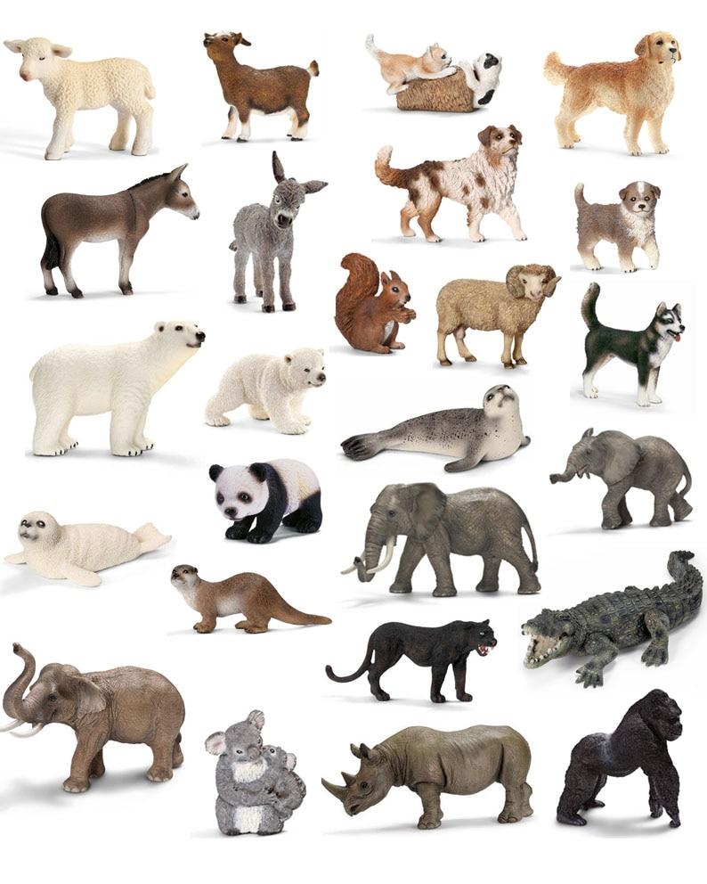 Figurine Kids Jungle Animal-Sets Donkey Dog-Wolf Wild-Life Zoo-Farm Children Original