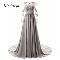 It's Yiiya New Illusion Long Sleeves Zipper Tulle Appliques Lace Sex Trailing Evening Dresses Draped Party Gown Prom Dress 2501