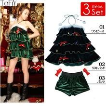 82d52191aab8 TaFiY 3 PCS Hot sell Women Christmas Green Dress Sexy Christmas Tree  Costumes For Adults Uniform