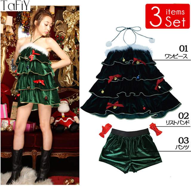 placeholder TaFiY 3 PCS Hot sell Women Christmas Green Dress Sexy Christmas  Tree Costumes For Adults Uniform 0e70ea19fffb