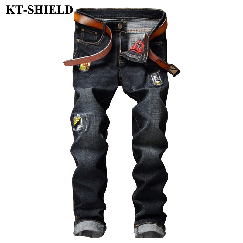 Ripped Jeans Men Patches Fashion Denim Trousers Homme Biker Distressed Jean Pantalones 100 Cotton Casual Male