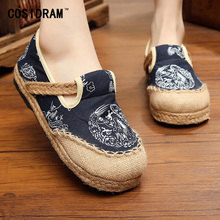 Hemp Linen Canvas Women Flats Spring Women Casual Shoes Chinese Style Printing Slip On Plimsolls Female Ladies Footwear SNE-167