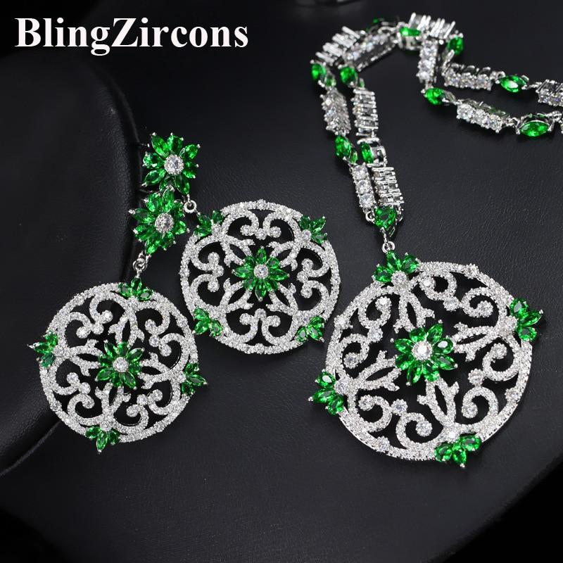 цена на BlingZircons Green Cubic Zircon Women Big Round Drop Earrings And Necklace Bridal Jewelry Set For Nigerian Wedding Evening JS046