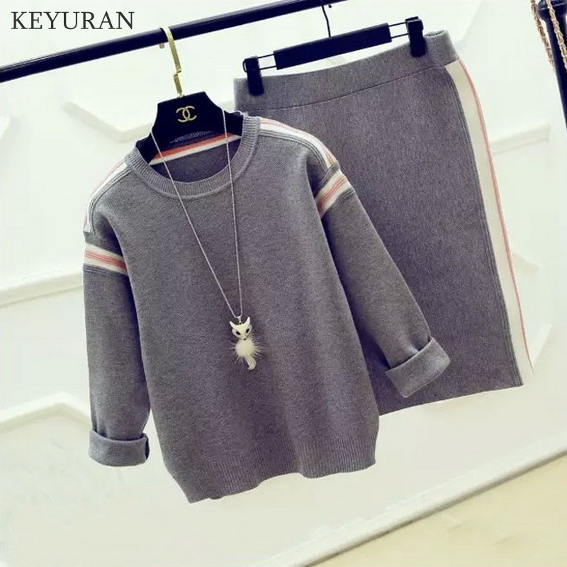 Runway Knitted Sweaters Two Piece Set Women Striped Long Sleeve Pullover Tops + Elastic Waist Package Hip Pencil Skirt Suits