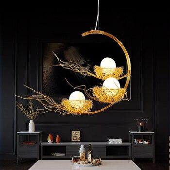 Nid d'oiseau créatif lampes suspendues Simple en aluminium LED lampe suspendue lampes nordiques chambre luminaires LED Luminaire Suspendu