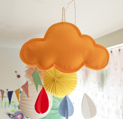 Buy hanging yellow cloud wall art home for Hanging kids artwork