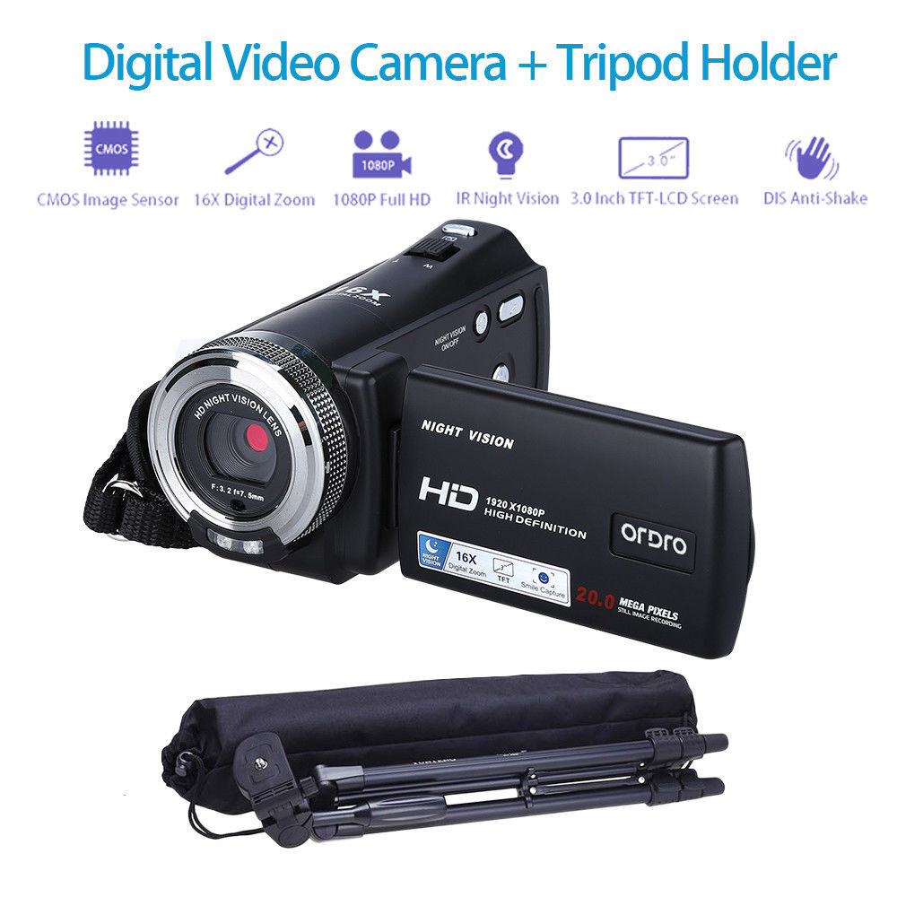 ORDRO HDV-V12 3.0 LCD 1080P FHD Digital Camera Camcorder DVR Night Vision CMOS Sensor 16x Zoom Microphone + Tripod