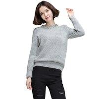 2017 herbst Neue Frauen Pullover Pullover Handgemachte Perle Diamant Kragen Pullover Unif Casual Solide Weihnachts Pullover S06 Z15