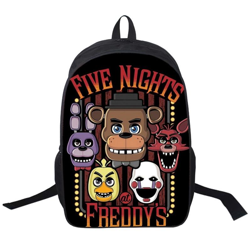 16 Inch Five Nights At Freddys Backpack For Teen Bonnie Backpack Boys Girls School Bags Backpacks