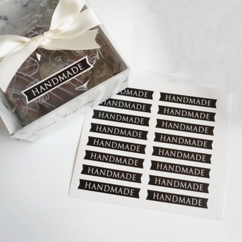 Купить с кэшбэком 160pcs/lot Black 'HANDMADE' Strip Seal Sticker For DIY Gifts Cake Cookie Baking Package Decoration Handmade With Love Label