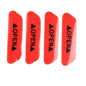 Image 5 - 4 Pcs Car Door Safety Warning Reflective Stickers OPEN Sticker Long distance Reflective Paper Anti collision Decorative Sticker