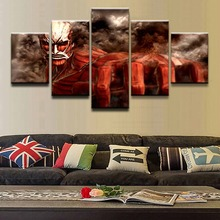 Canvas Painting Modern Print Picture 5 Pieces Attack on Titan Colossal Shingeki No Kyojin Poster Wall Art Home Decor