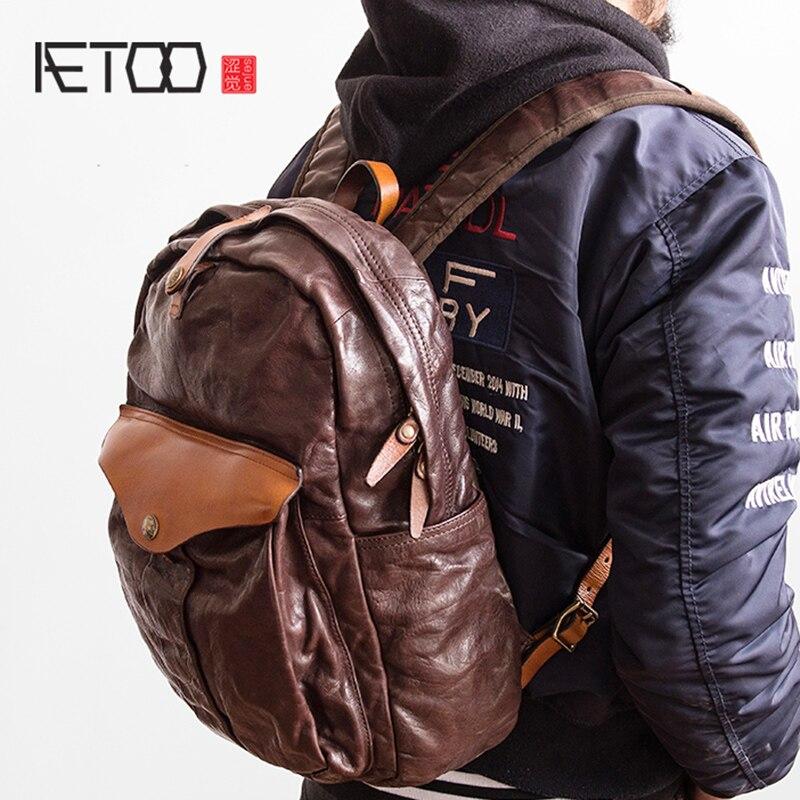 AETOO vintage hohe qualität ringkastration top leder rindsleder mode färbung schulter tasche echt rucksack-in Rucksäcke aus Gepäck & Taschen bei  Gruppe 1
