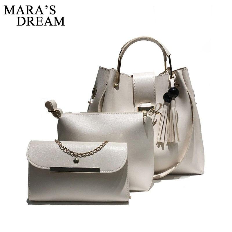 Mara's Dream 2018 Fashion Crossbody Bags For Women Leather Handbags Shoulder Bag Female Soft Solid Bag Women Messenger Bags Set 2