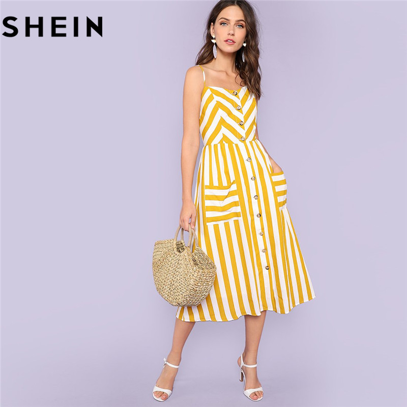 SHEIN Striped Mid-Calf Dress 180518730