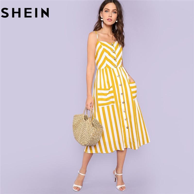SHEIN Striped Spaghetti Strap High Waist Mid-Calf Dresses Women 2018 Summer  Vacation Beach Button Up Pockets Front Cami Dress 3777cfe126