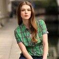 Veri Gude Лето Стиль Клетчатую Рубашку для Женщин С Коротким Рукавом Хлопчатобумажная Ткань