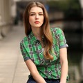 Veri Gude Summer Style Plaid Shirt for Women Short Sleeve Cotton Fabric