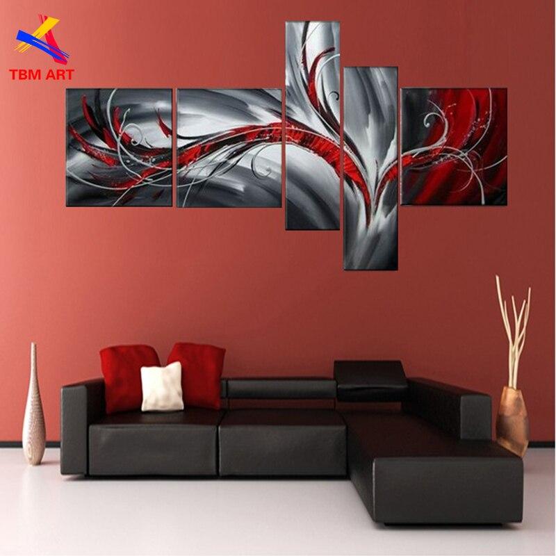 € 54.97 |Gris et rouge couleur Pic abstrait toile peinture grand fait à la  main moderne toile peinture à l\'huile mur Art cadeau décoration de la ...
