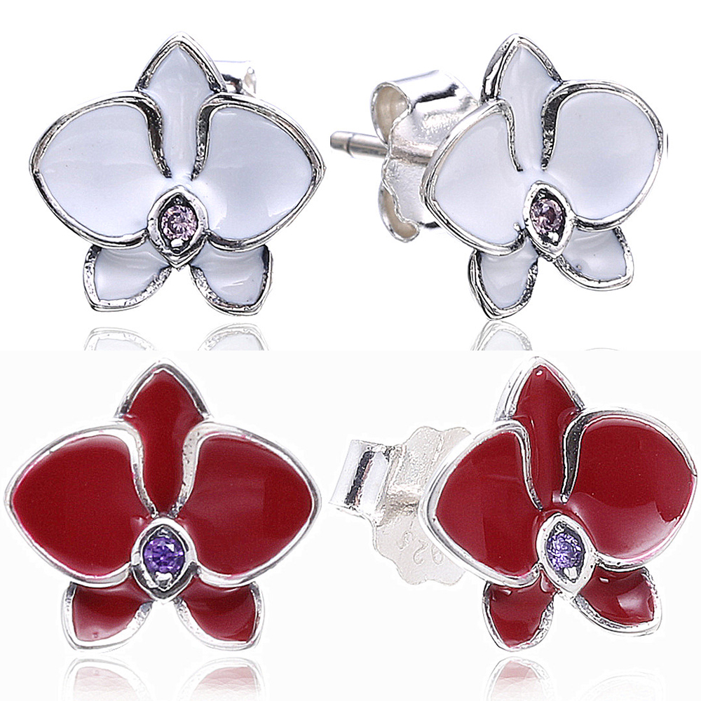 Compatible With Slovecabin Jewelry 925 Sterling Silver Orchid Crystal Stud Earrings For Women Trendy 925 Fashion Women Earrings