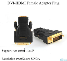 1pc DVI-HDMI Female Adapter Gold-plated Pure Copper 720 1080i 1080P Resolution 1920X1200 Plug &Play Choseal Black Free Shipping