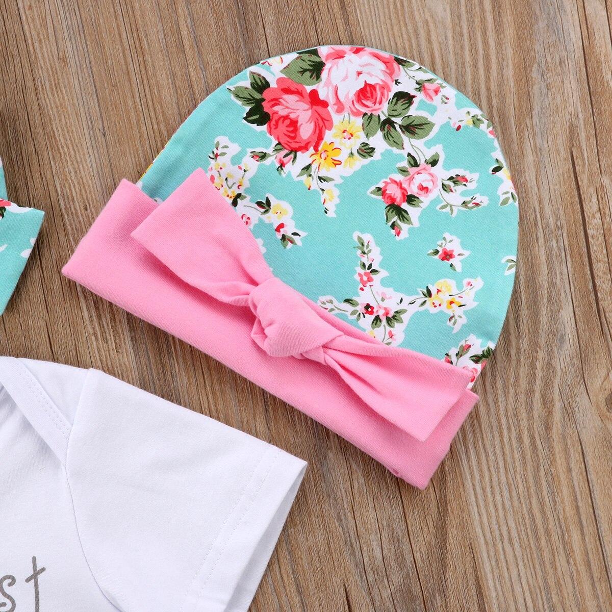 4PCS Infant Newborn kids Baby Girls Letter Print Romper Jumpsuit Playsuit+Fruit Print Pants Hat Headband Clothes Outfit Set