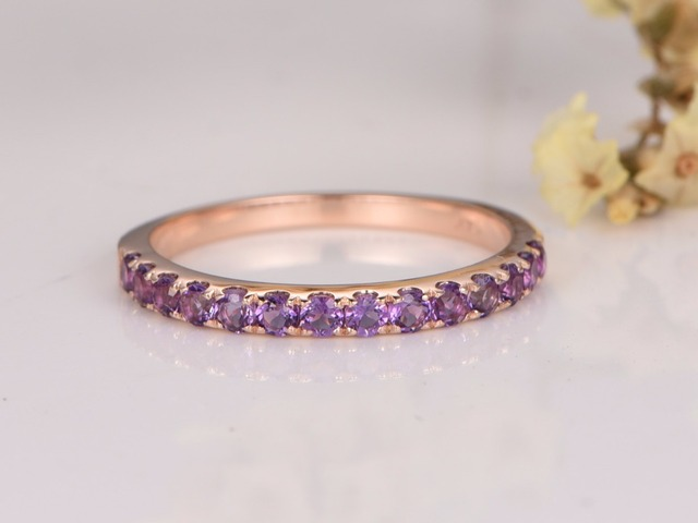 Myray 14k Rose Gold Wedding Band Diamond Natural Amethyst Pave Ring