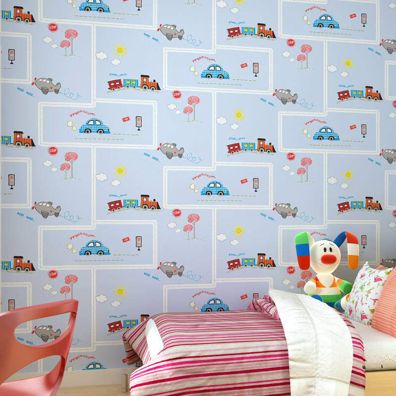Aliexpresscom Buy Childrens Room Wallpaper Kids Stripes Blue - Boys car wallpaper designs