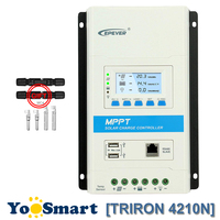 EPever TRIRON 4210N MPPT 40A Солнечный Regulador 12/24VDC Авто отрицательный заземления модульная ЖК дисплей контроллер солнечной панели Dual USB