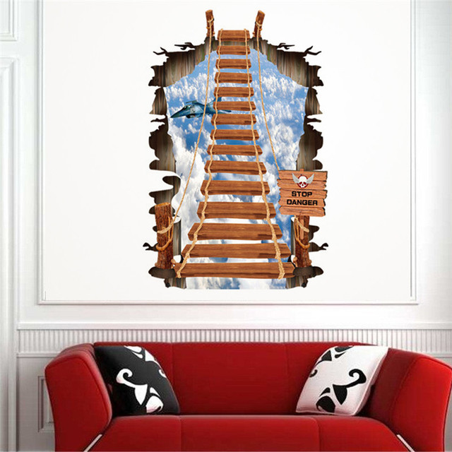 3d stairs wall stickers creative personality fashion ladder sky