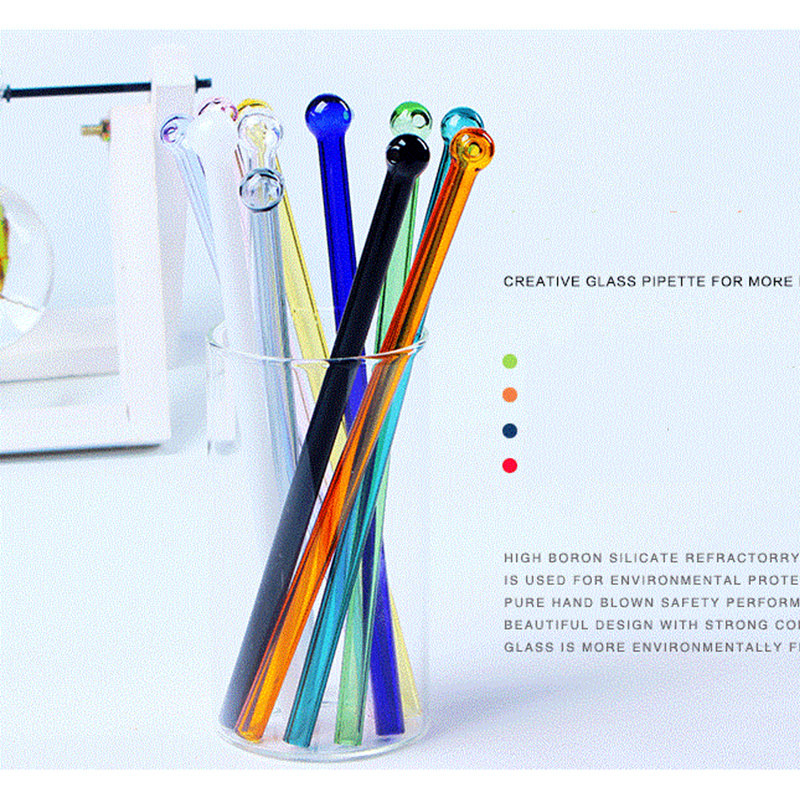 1pcs Colorful Glass Straws Reusable Party Smoothie Drinking Straws  For Milkshake Frozen Household Drinks Thick Straws
