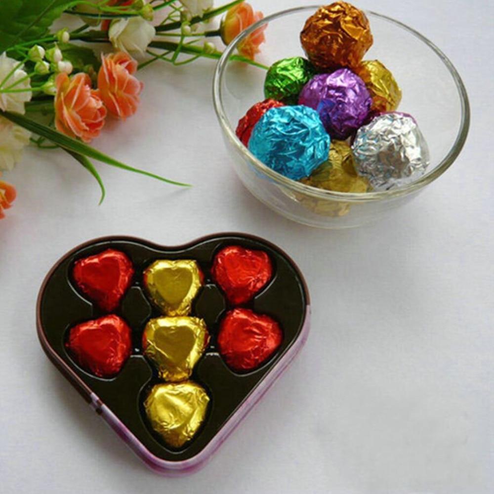 Wholesale 10000Pcs/Lot 8*8cm 3.14x3.14 Multi Colored Foil Wrapper For Chocolates Sweetmeats Packaging Paper Colorful Tin Foil