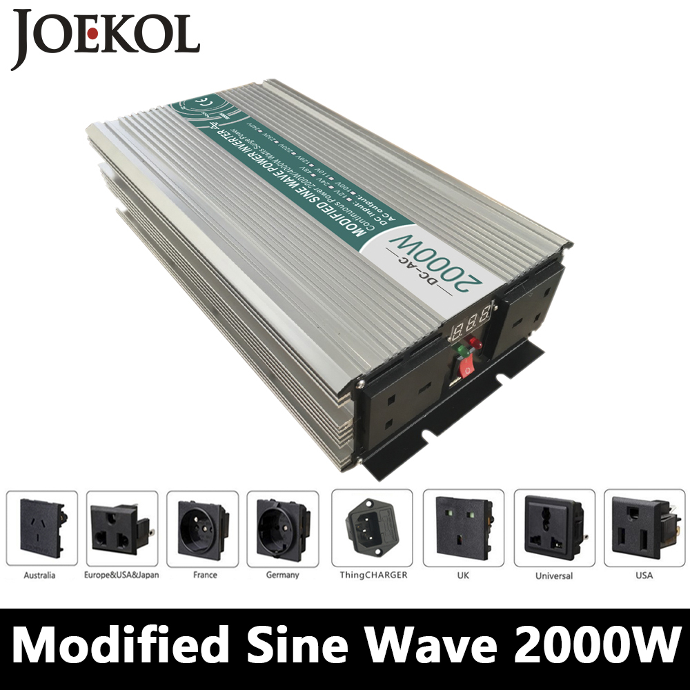 2000W Modified Sine Wave Inverter,DC 12V/24V/48V To AC 110V/220V,off Grid Power Inverter Work With Solar Wind Battery Panel 2000w pure sine wave inverter dc 12v 24v 48v to ac 110v 220v off grid power inverter work with solar wind battery panel