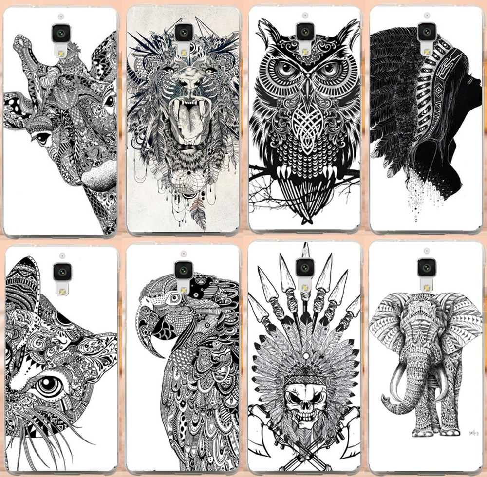 Animal Design Us 2 2 3d Diy Lovely Black And White Animals Design Hard Plastic Protective Cases For Xiaomi4 Painted Colorful Cover Case For Xiaomi4 In