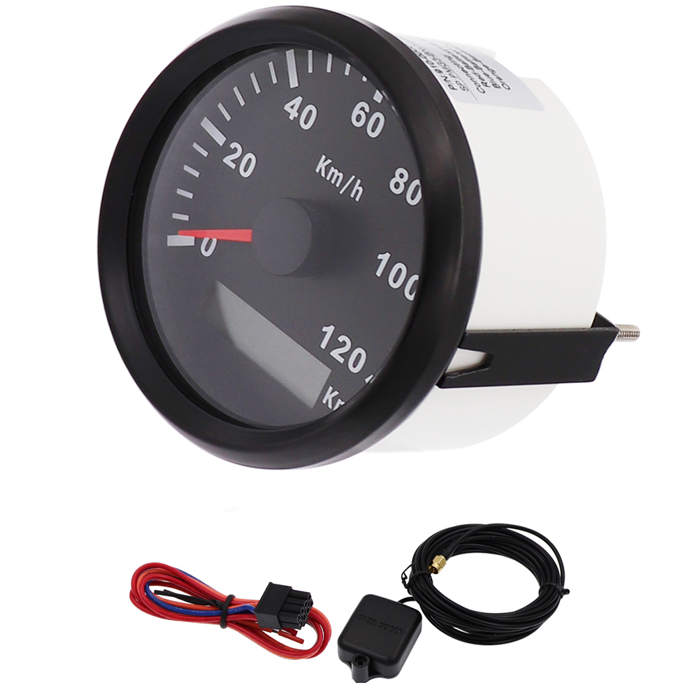 120km/h Speed Gauge Waterproof 85mm Marine Boat GPS Speedometer Gauge fit Car Boat Truck 9V~32V with Speed Sensor 85mm car gps speedometer truck boat digital lcd speed gauge knots compass with gps antenna