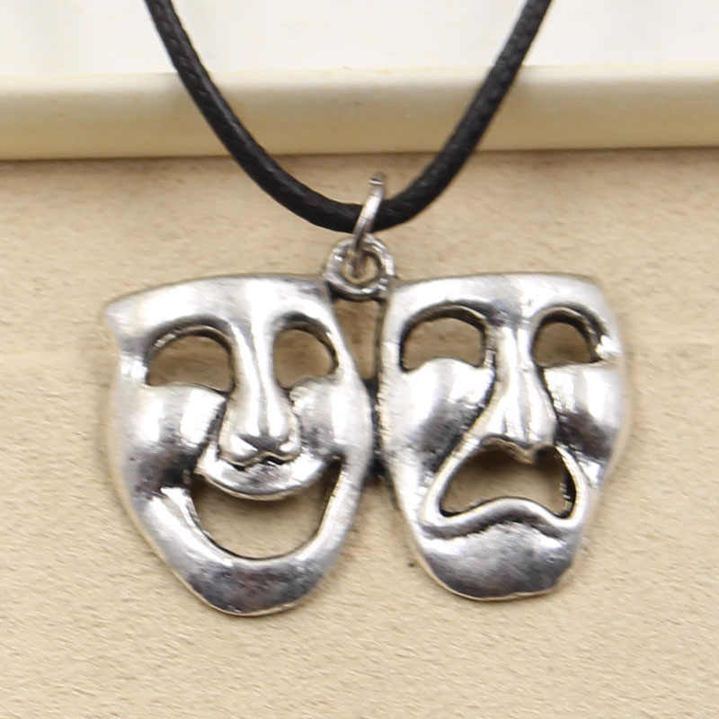New Fashion Tibetan Silver Pendant smile cry mask Necklace Choker Charm Black Leather Cord Factory Price Handmade jewelry