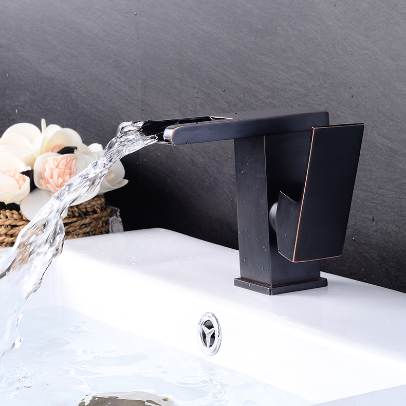 Waterfall Kitchen Faucets Electroplate Black Brass Bathroom Faucet Square Single Handle Single Hole Sink Mixer Hot Cold Water micoe hot and cold water basin faucet mixer single handle single hole modern style chrome tap square multi function m hc203
