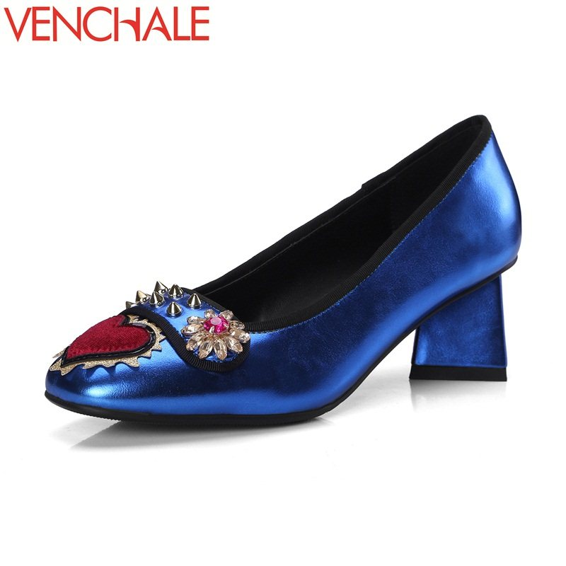 цены VENCHALE 2018 newest arrival girls nation rivets strange style ethnic fashion square toe all-match style shoes woman pumps
