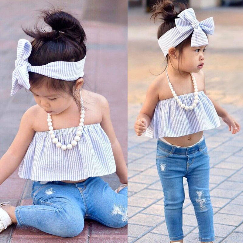 3pc Cute Baby Girl Red Off Shoulder Top Hole Shorts Jeans Headband Outfits Set
