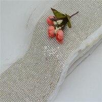 36row glue back crystal Rhinestone Diamond Mesh Trim white cloth for Party Wedding Decoration 1 yard