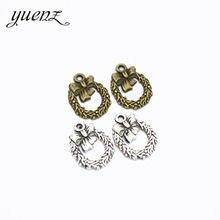 YuenZ 30 pcs 3 Cores Salto Anéis de Liga de Zinco de Bronze Antigo Círculo & flor Do Natal Pingentes Encantos Descobertas Jóias N141