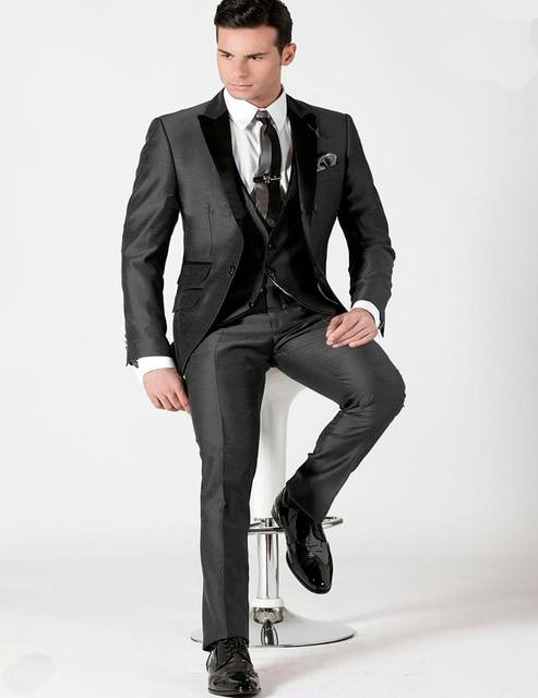 New Arrival Customized 2018 Charcoal Men Suits Jacket+Pants+Vest ...