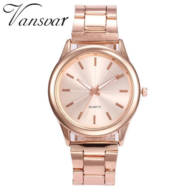 Relojes de pulsera para Mujer Vansvar, relojes de pulsera para Mujer, de lujo, de oro rosa, de acero inoxidable