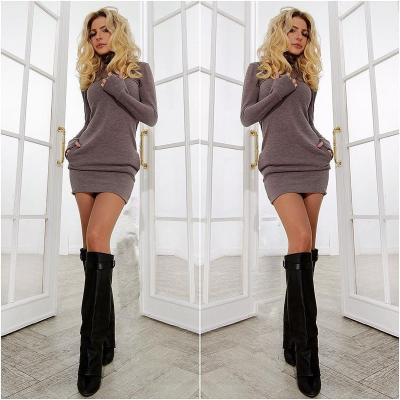 52e49f8ae3fc Detail Feedback Questions about Women Long Sleeve Thumb Out Dress ...