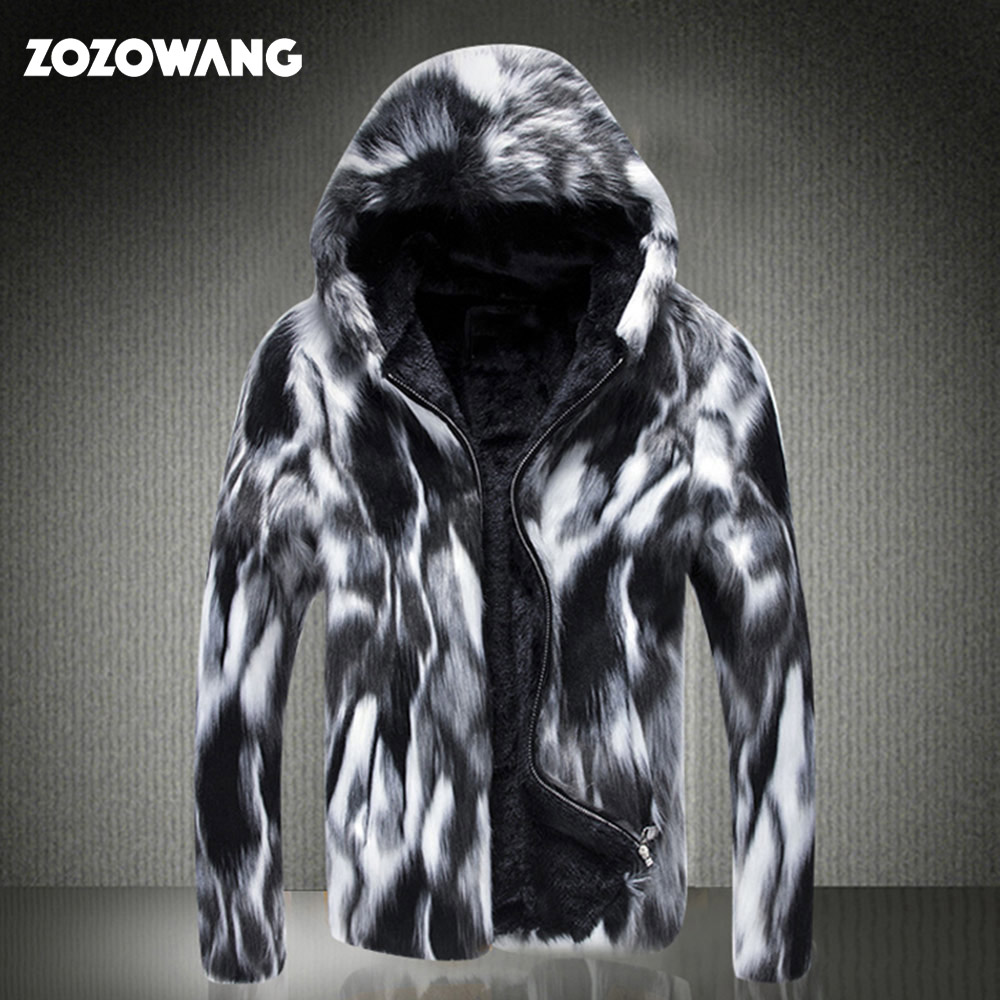ZOZOWANG 2019 Winter Faux Fur Coat Men Wild Personality Thick Fur Jacket Leather Grass Male Windbreaker Fox Thick Plus Size 6XL