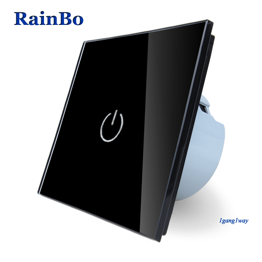 RainBo New Crystal Glass Panel Switch Wall Switch EU Touch Switch Screen Wall Light Switch 1gang1way 110~250V LED lamp black