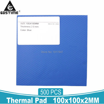 500 Pieces 2MM Thermal Pad GPU CPU IC Heatsink Cooling Compound Conductive Silicone Pads 100*100*2mm
