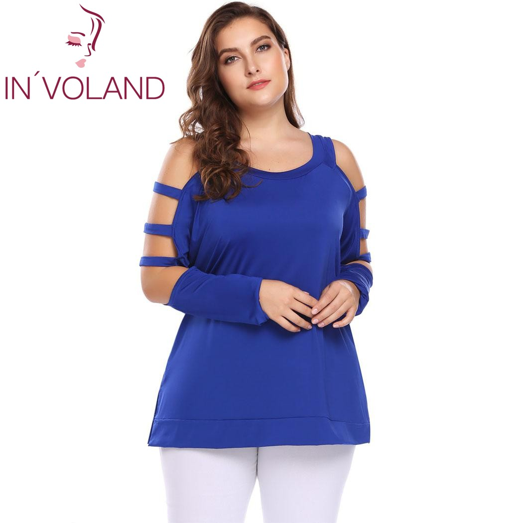 IN'VOLAND Plus La Taille Femmes T-Shirt Tops XL-5XL Cut Out Manches Longues Cold Shoulder O Cou Solide Lâche Pull T-shirts T-shirt Grande Taille